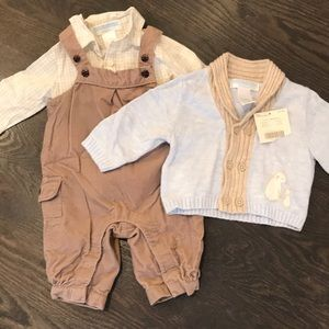 Janie and Jack Overall and Sweater Set